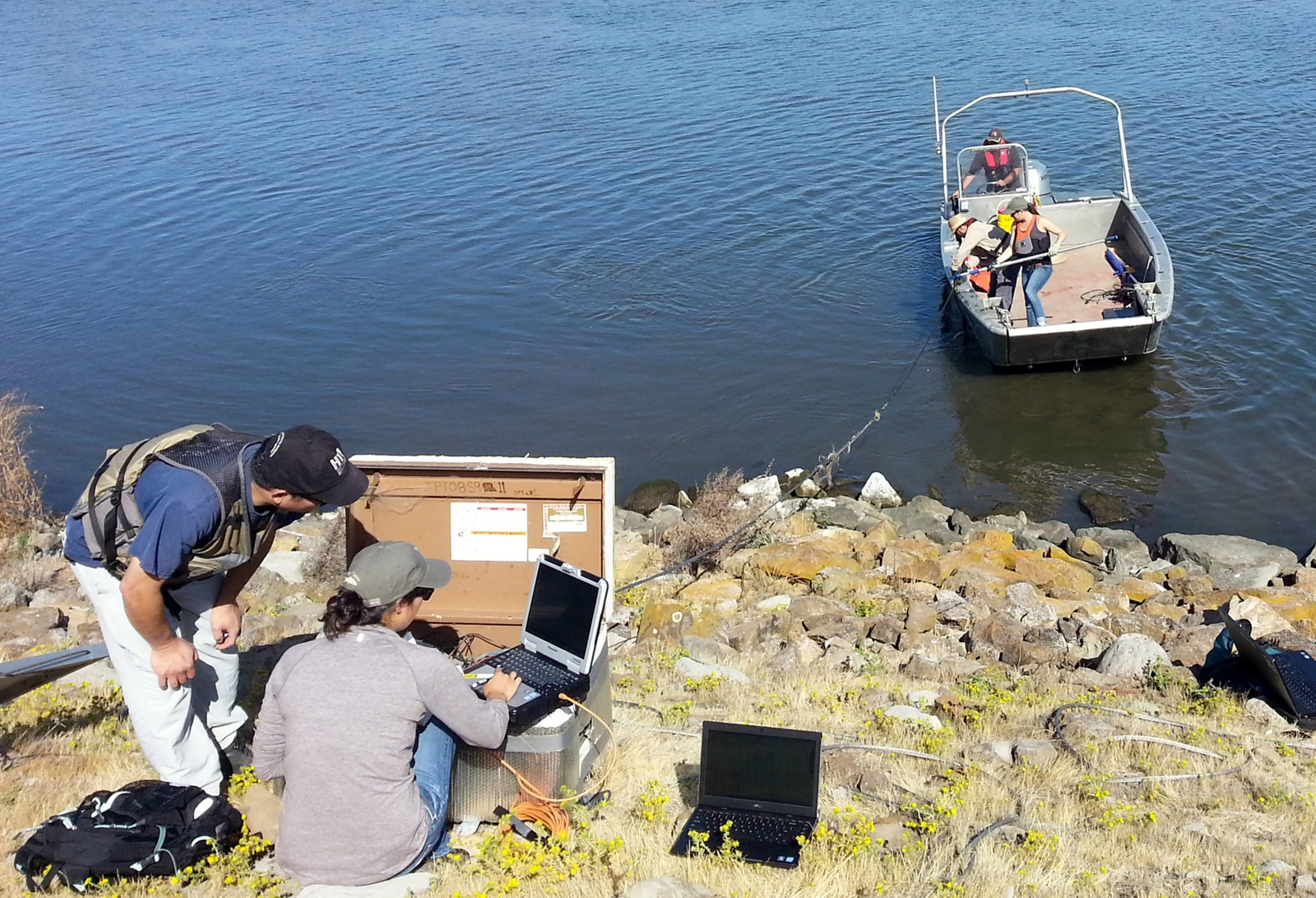 Scientists tracking fish behavior. Hydroacoustic Technology, Inc.